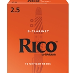 Rico RCA1025 Bb Clarinet Reeds, Strength 2.5, 10-pack