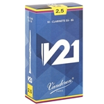 Vandoren CR8025 Bb Clarinet V21 Reeds Strength #2.5; Box of 10