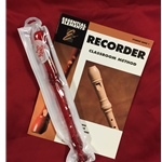Tudor TD180RD-BOOK  Candy Apple Recorder Bundle Pack (w/ Red Recorder & Book)