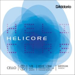 H512 3/4M D'Addario Helicore Cello Single D String, 3/4 Scale, Medium Tension