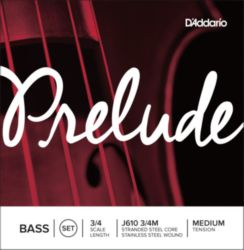 Prelude by Daddario J610 3/4M Bass String Set, 3/4 Scale, Medium Tension