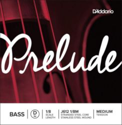 Prelude by Daddario J612 1/8M Bass Single D String, 1/8 Scale, Medium Tension