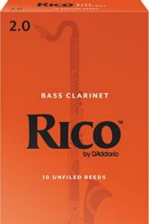 Rico REA1020 Bass Clarinet Reeds, Strength 2, 10 Pack