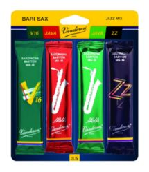 Vandoren SRMIXB25 Bari Sax Jazz Reed Mix Card includes 1 each ZZ, Traditional, Java and Java Red Strength #2.5